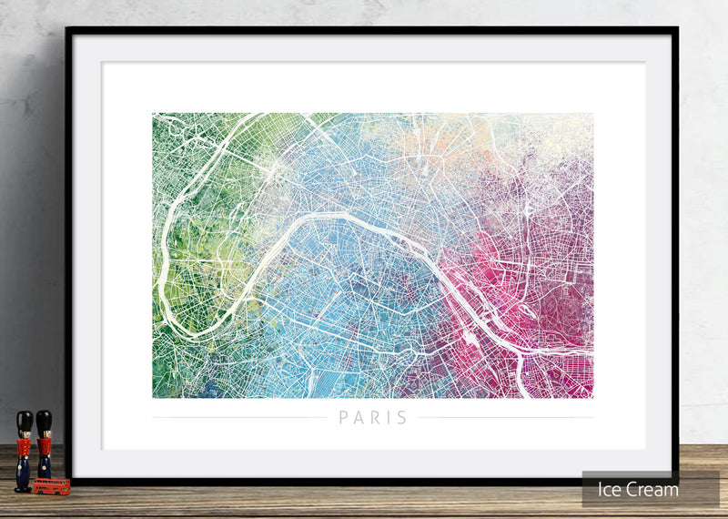 Paris Map: City Street Map of Paris France - Nature Series Art Print
