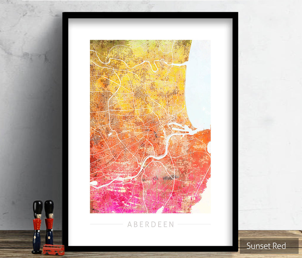 Aberdeen Map: City Street Map of Aberdeen Scotland - Sunset Series Art Print