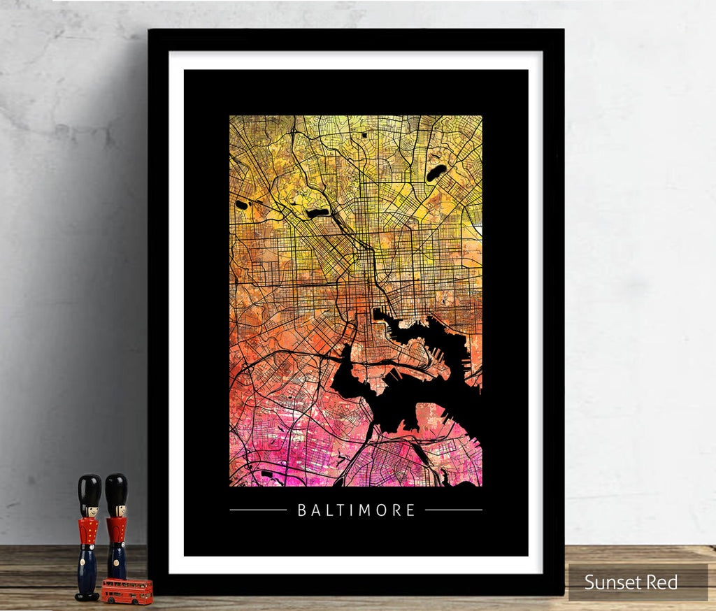 Baltimore Map: City Street Map of Baltimore, Maryland - Sunset Series Art Print