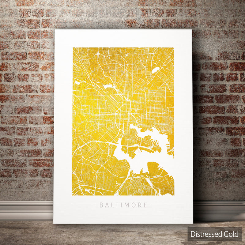 Baltimore Map: City Street Map of Baltimore, Maryland - Colour Series Art Print