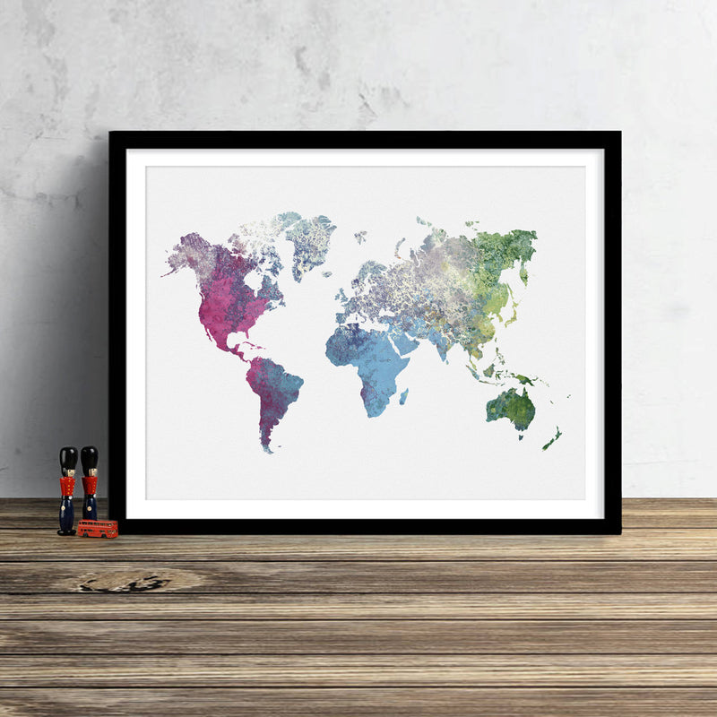 World Map: Watercolor Illustration Wall Art - Ice Cream Theme