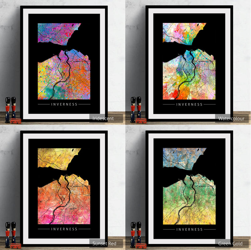 Inverness Map: City Street Map of Inverness, England - Sunset Series Art Print