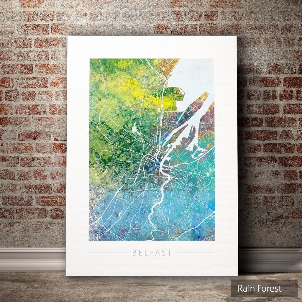 Belfast Map: City Street Map of Belfast, Ireland - Nature Series Art Print