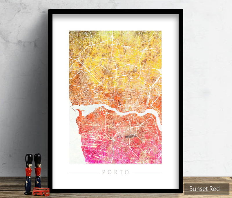 Porto Map: City Street Map of Porto, Portugal - Sunset Series Art Print