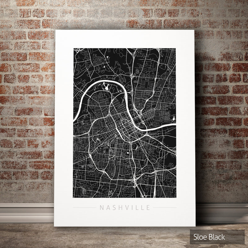 Nashville Map: City Street Map of Nashville, Tennessee - Colour Series Art Print