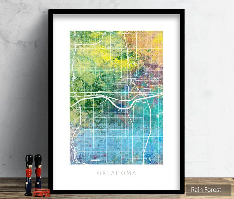 Oklahoma Map: City Street Map of Oklahoma, USA - Nature Series Art Print
