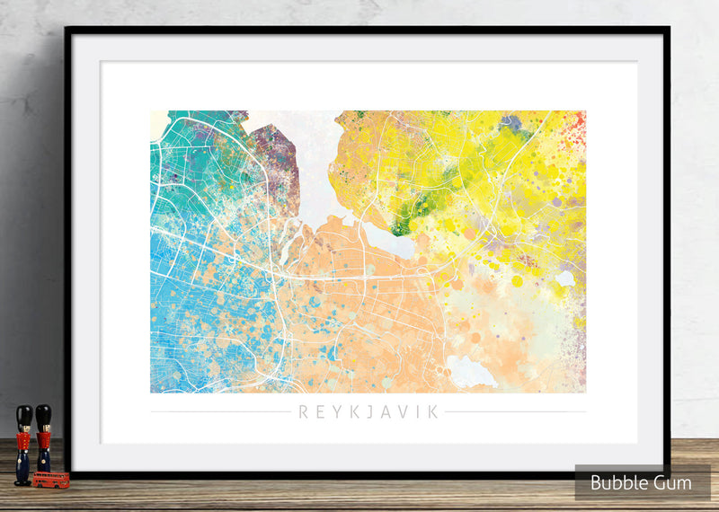 Reykjavik Map: City Street Map of Reykjavik Iceland - Nature Series Art Print