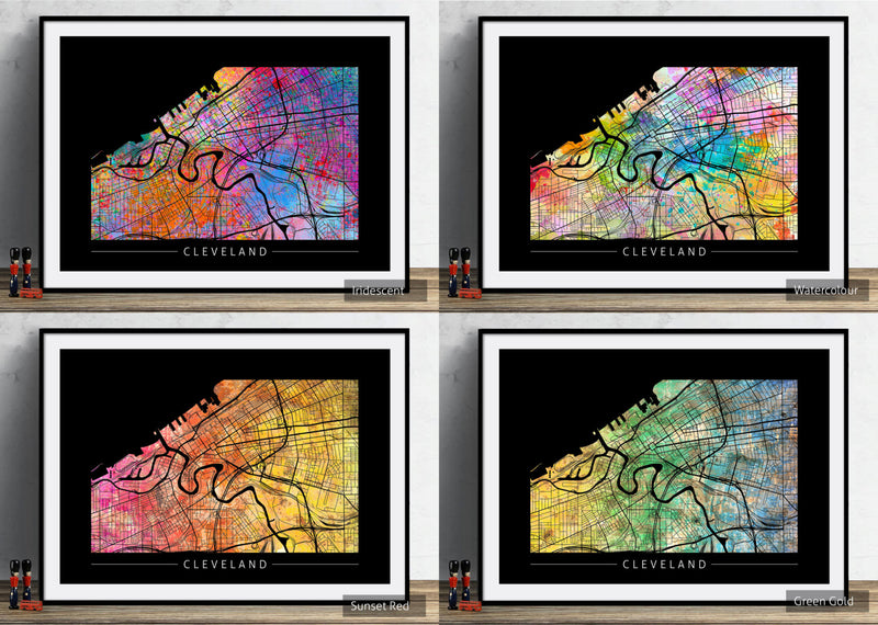 Cleveland Map: City Street Map of Cleveland, Ohio - Sunset Series Art Print