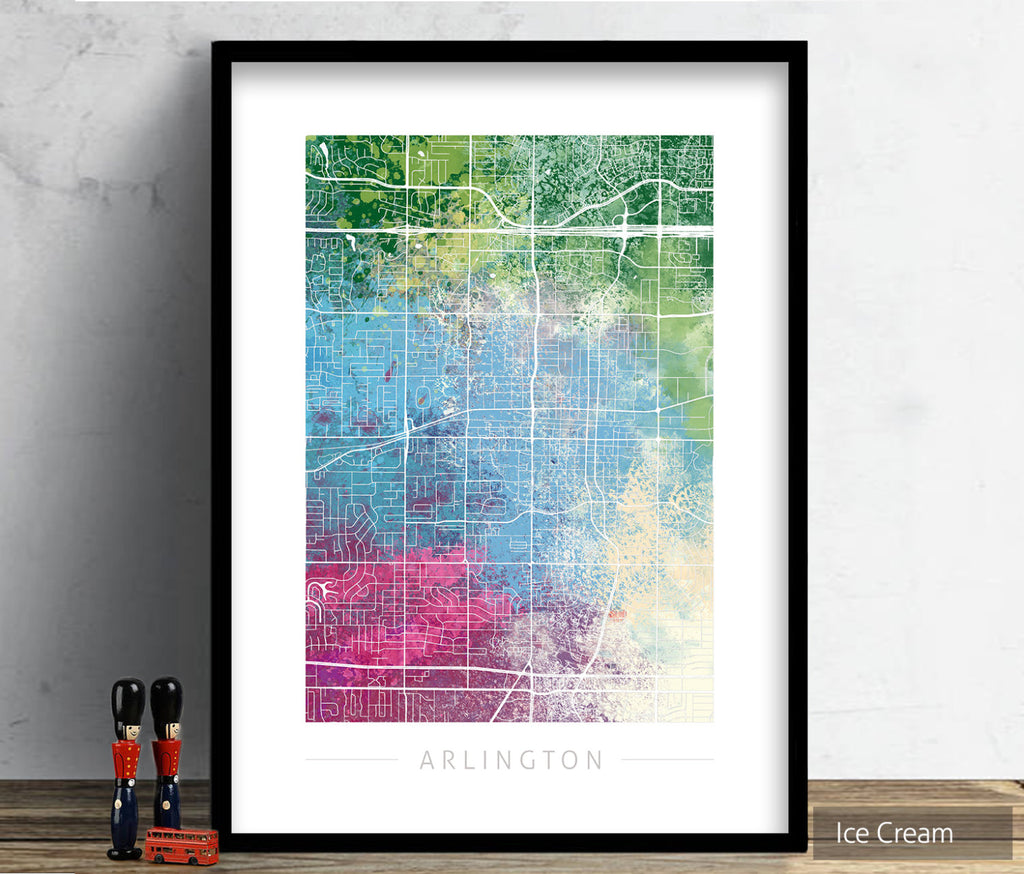 Arlington Map: City Street Map of Arlington, Texas - Nature Series Art Print