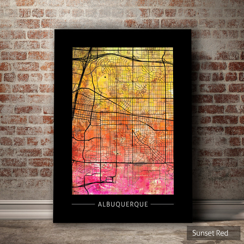 Albuquerque Map: City Street Map of Albuquerque, New Mexico - Sunset Series Art Print