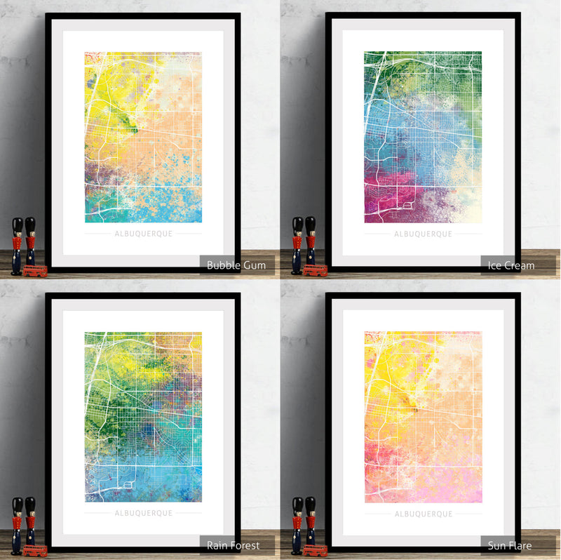 Albuquerque Map: City Street Map of Albuquerque, New Mexico - Nature Series Art Print