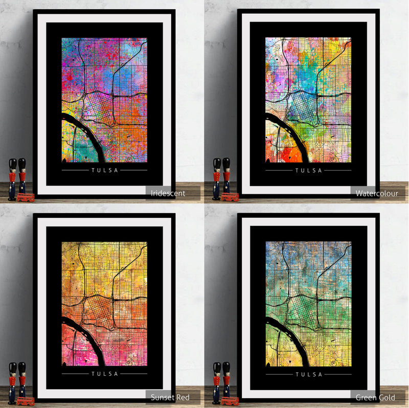 Tulsa Map: City Street Map of Tulsa, Oklahoma - Sunset Series Art Print