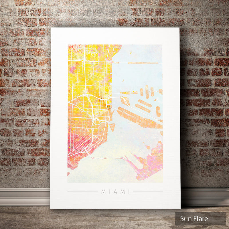 Miami Map: City Street Map of Miami, Florida - Nature Series Art Print