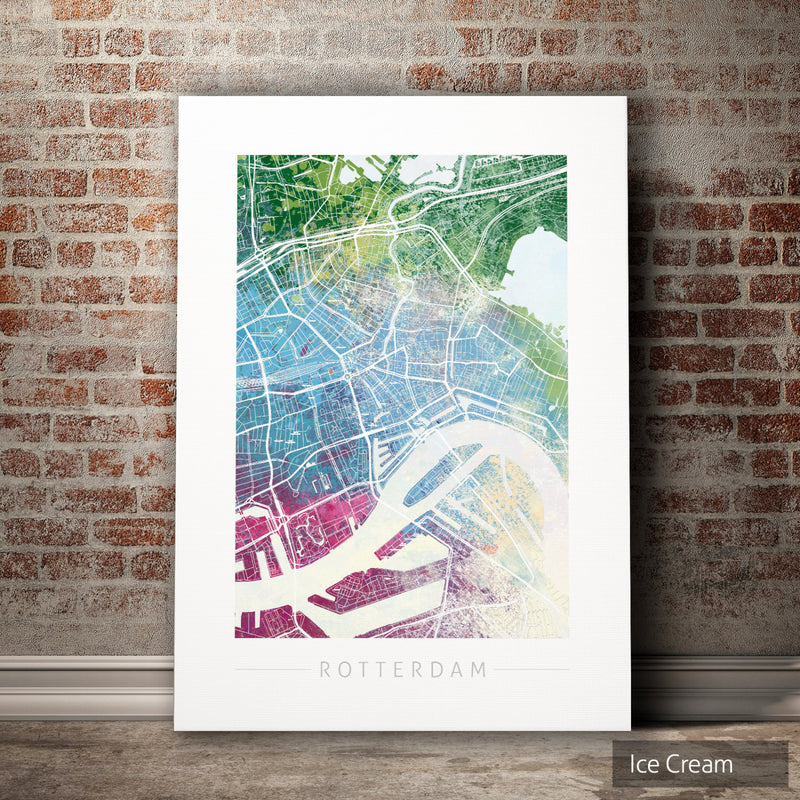 Rotterdam Map: City Street Map of Rotterdam, Netherlands - Nature Series Art Print