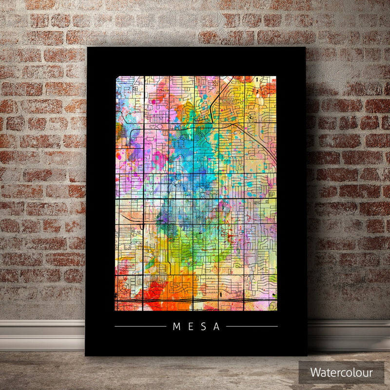 Mesa Map: City Street Map of Mesa, Arizona - Sunset Series Art Print