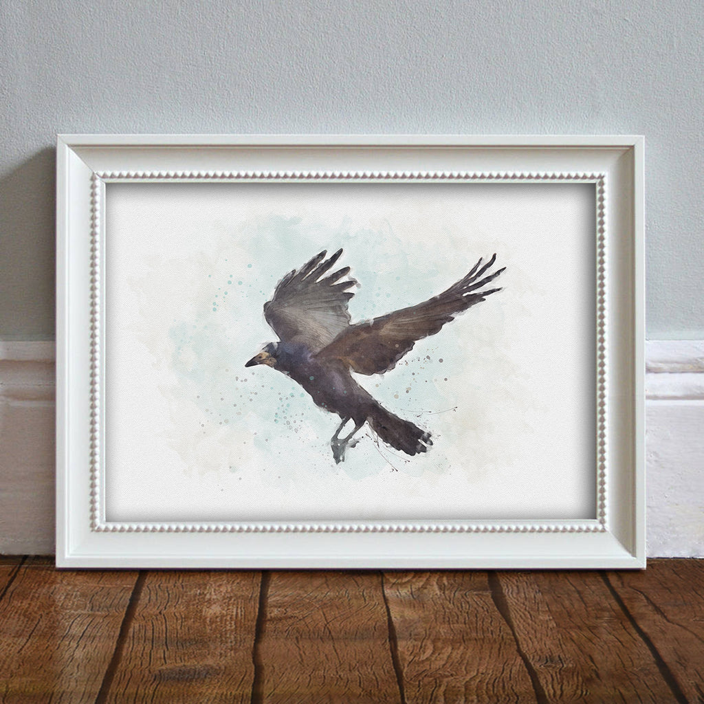 Rook: Watercolor Illustration Wildlife Art Print