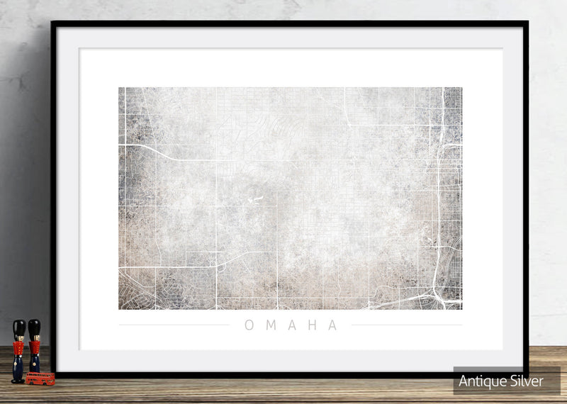 Omaha Map: City Street Map of Omaha, Nebraska - Colour Series Art Print