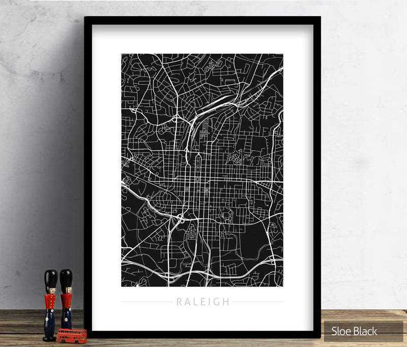 Raleigh Map: City Street Map of Raleigh, North Carolina - Colour Series Art Print