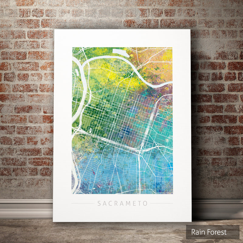Sacramento Map: City Street Map of Sacramento, California - Nature Series Art Print