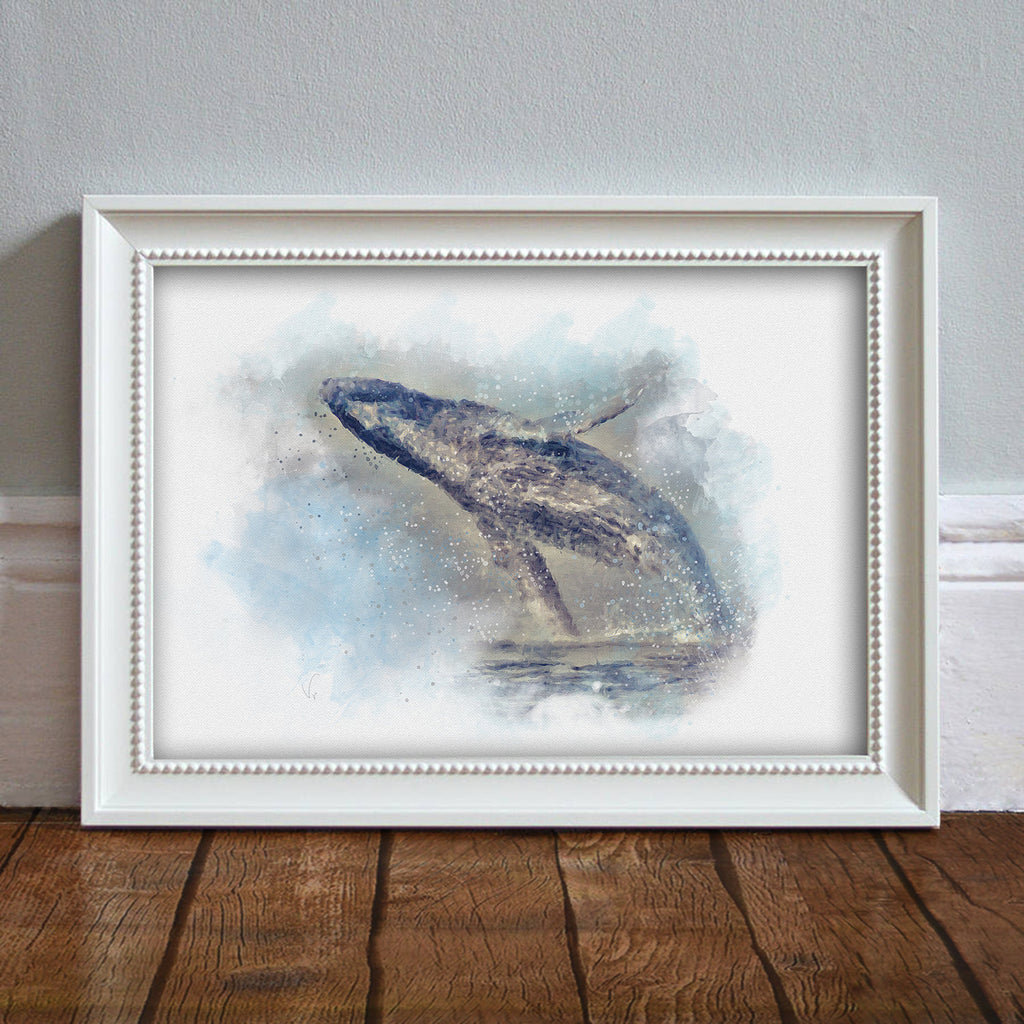 Whale: Watercolor Illustration Wildlife Art Print