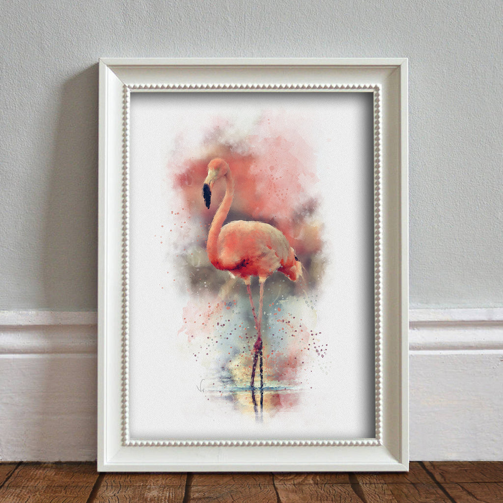 Pink Flamingo: Watercolor Illustration Wildlife Art Print