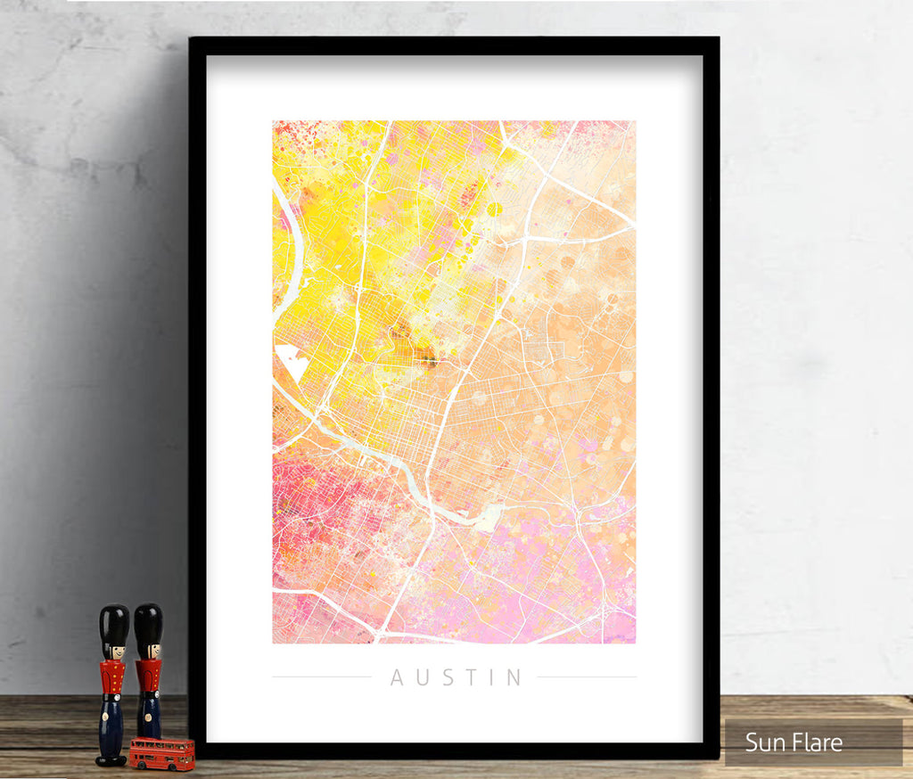 Austin Texas Map: City Street Map of Austin USA - Nature Series Art Print