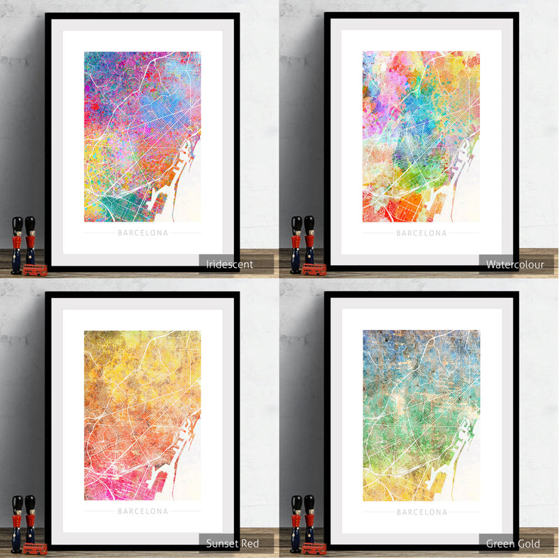 Barcelona Map: City Street Map of Barcelona Spain - Sunset Series Art Print