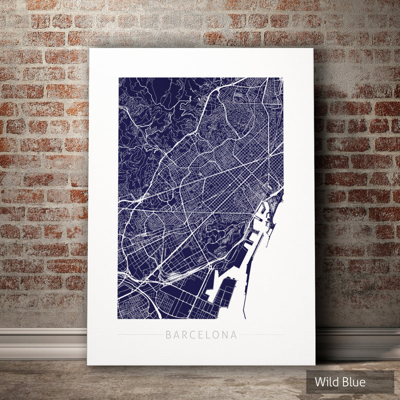 Barcelona Map: City Street Map of Barcelona Spain - Colour Series Art Print