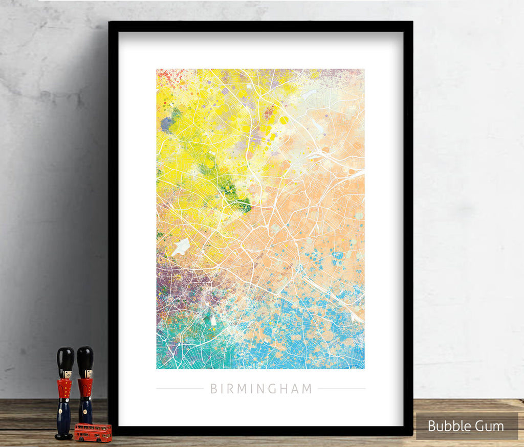 Birmingham Map: City Street Map of Birmingham England UK - Nature Series Art Print