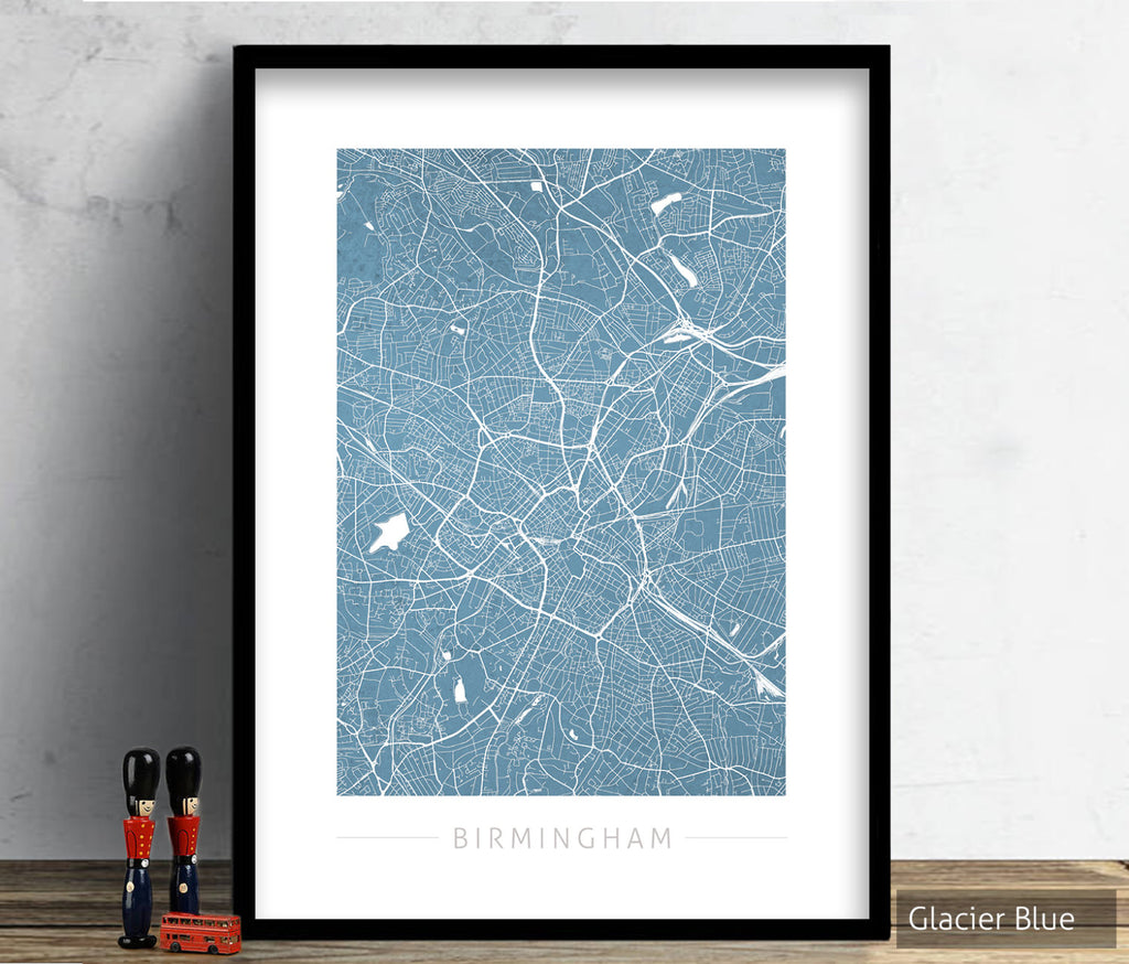 Birmingham Map: City Street Map of Birmingham England UK - Colour Series Art Print