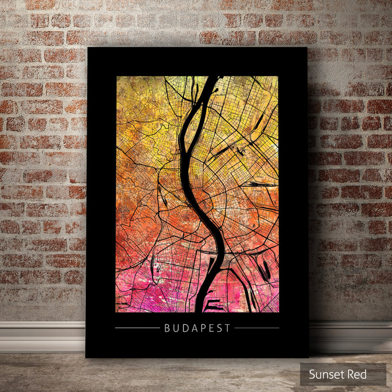 Budapest Map: City Street Map of Budapest Hungary - Sunset Series Art Print
