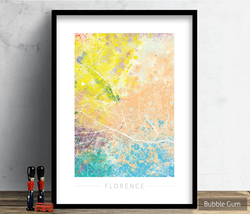 Florence Map: City Street Map of Florence Italy - Nature Series Art Print