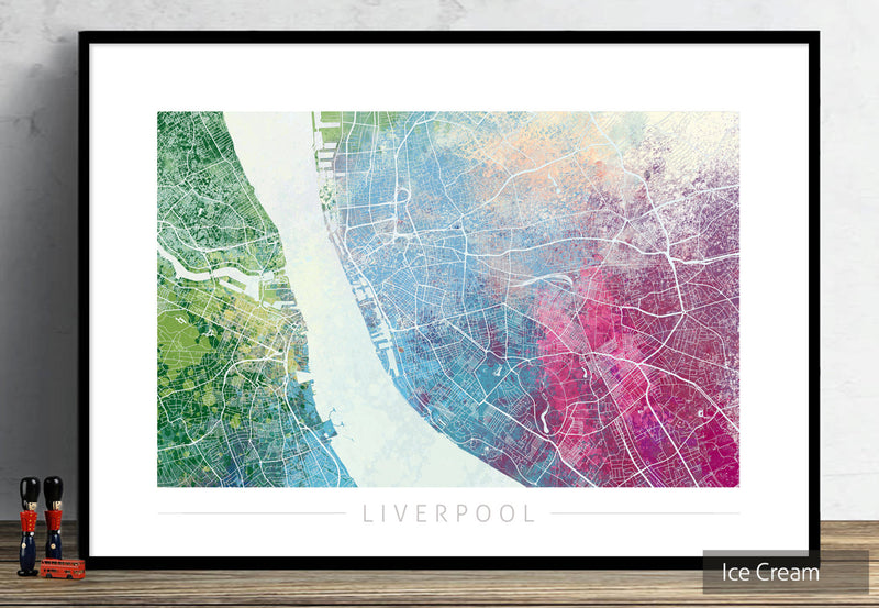 Liverpool Map: City Street Map of Liverpool England UK - Nature Series Art Print