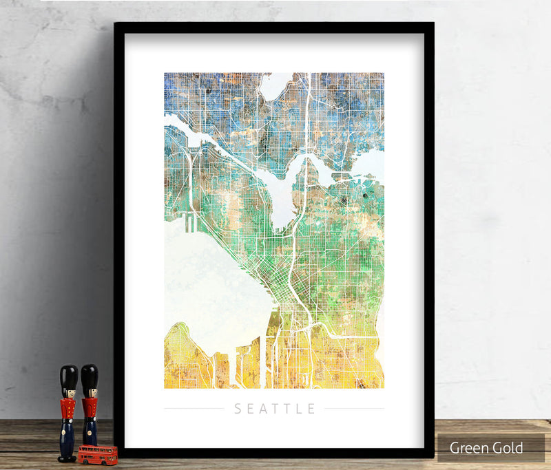 Seattle Map: City Street Map of Seattle Washington - Sunset Series Art Print