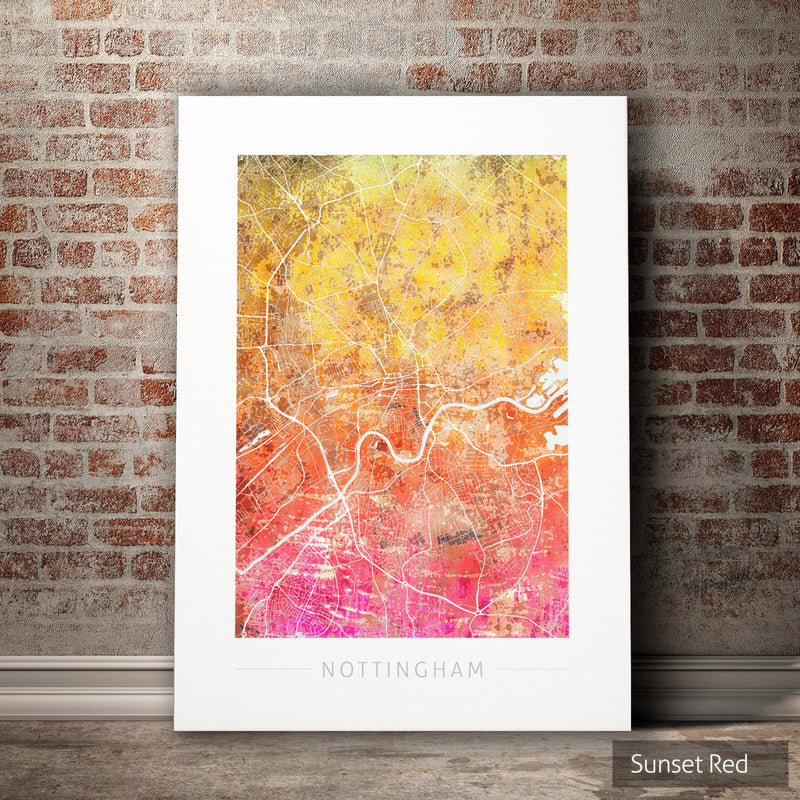 Nottingham Map: City Street Map of Nottingham England UK - Sunset Series Art Print