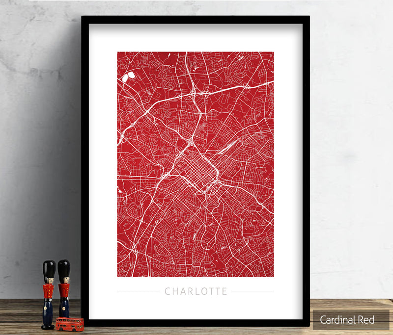 Charlotte Map: City Street Map Charlotte, North Carolina - Colour Series Art Print