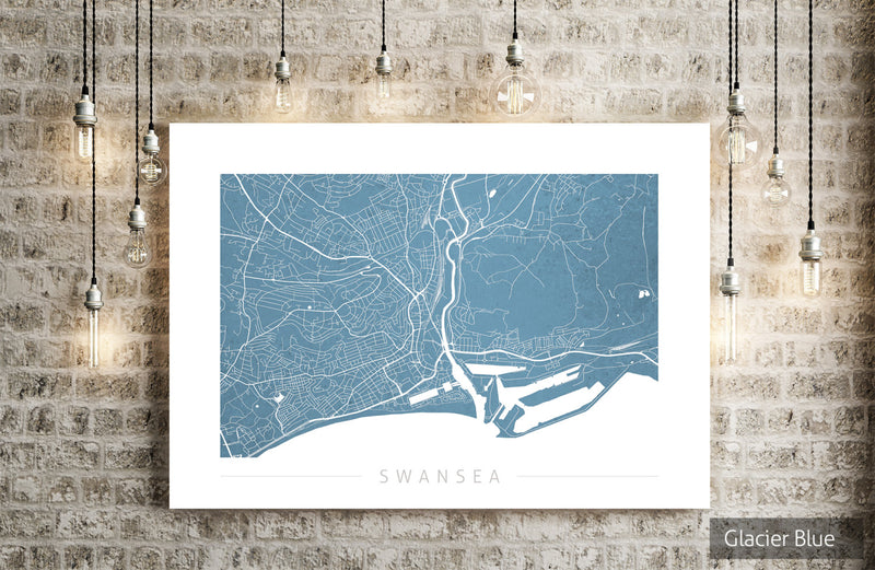 Swansea Map: City Street Map of Swansea, England UK - Colour Series Art Print