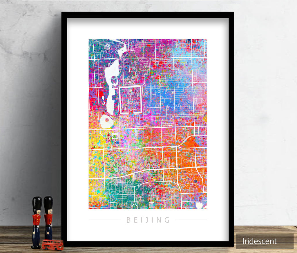 Beijing Map: City Street Map of Beijing, China - Sunset Series Art Print