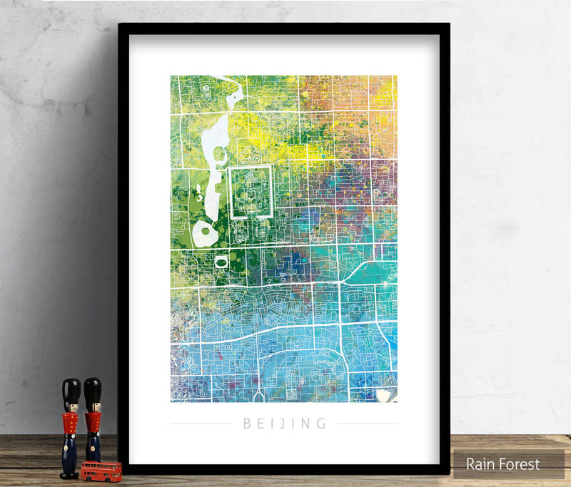 Beijing Map: City Street Map of Beijing, China - Nature Series Art Print