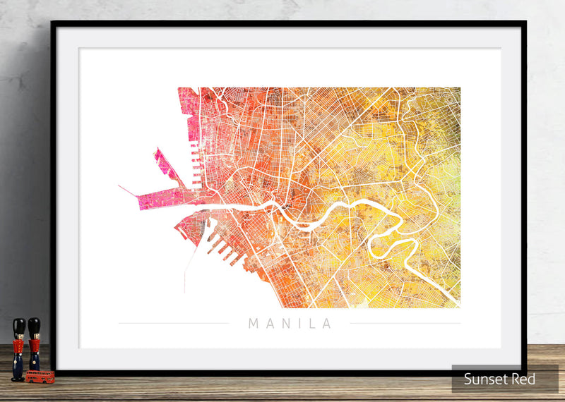 Manila Map: City Street Map of Manila, Philippines - Sunset Series Art Print