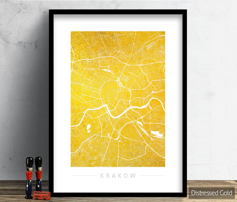 Kraków Map: City Street Map of Kraków, Poland - Colour Series Art Print