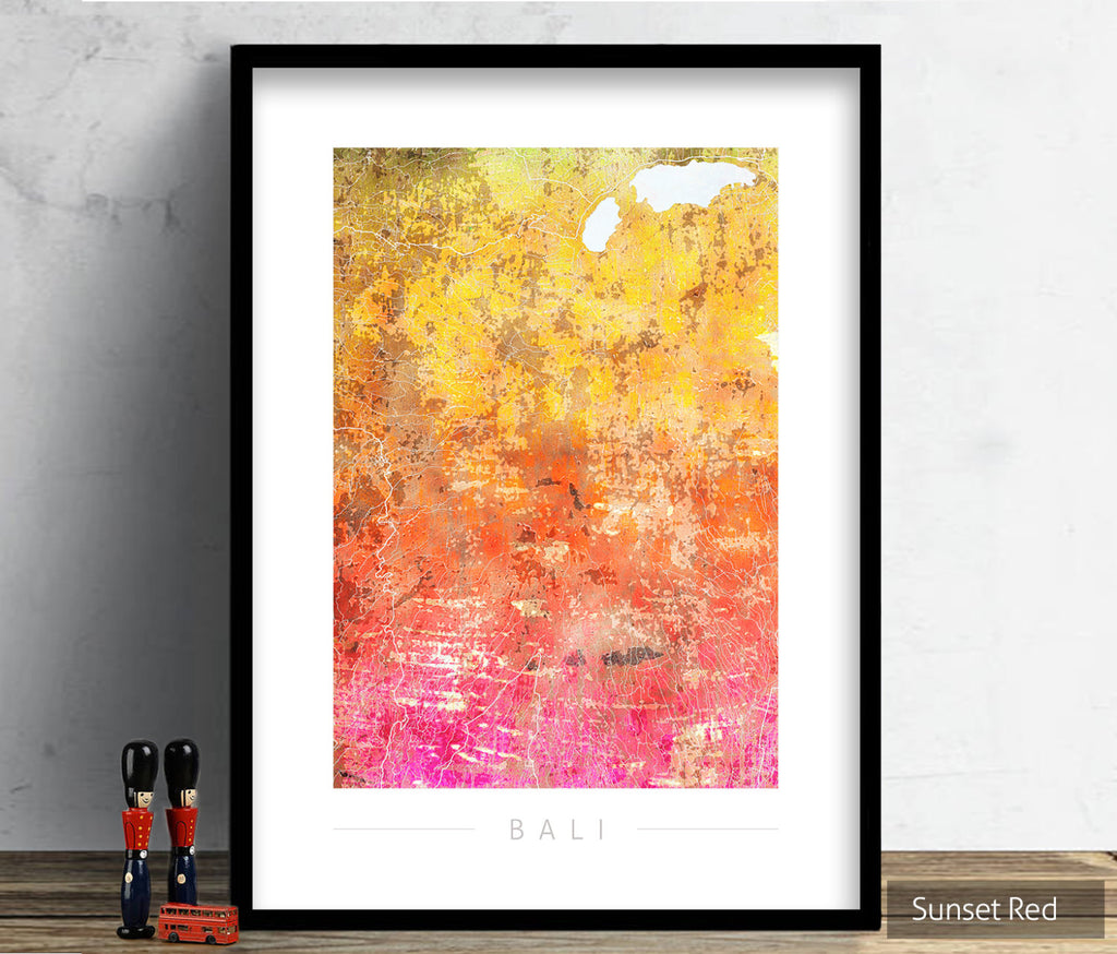 Bali Map: City Street Map of Bali, Indonesia - Sunset Series Art Print