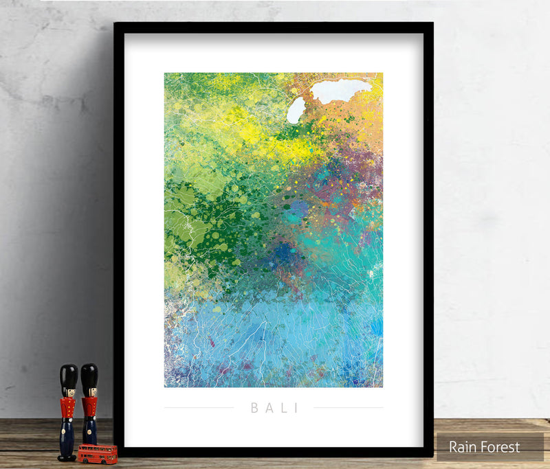 Bali Map: City Street Map of Bali, Indonesia - Nature Series Art Print
