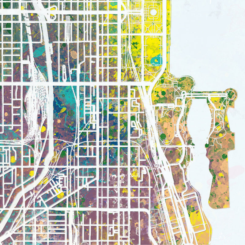 Chicago Map: City Street Map of Chicago Illinois - Nature Series Art Print