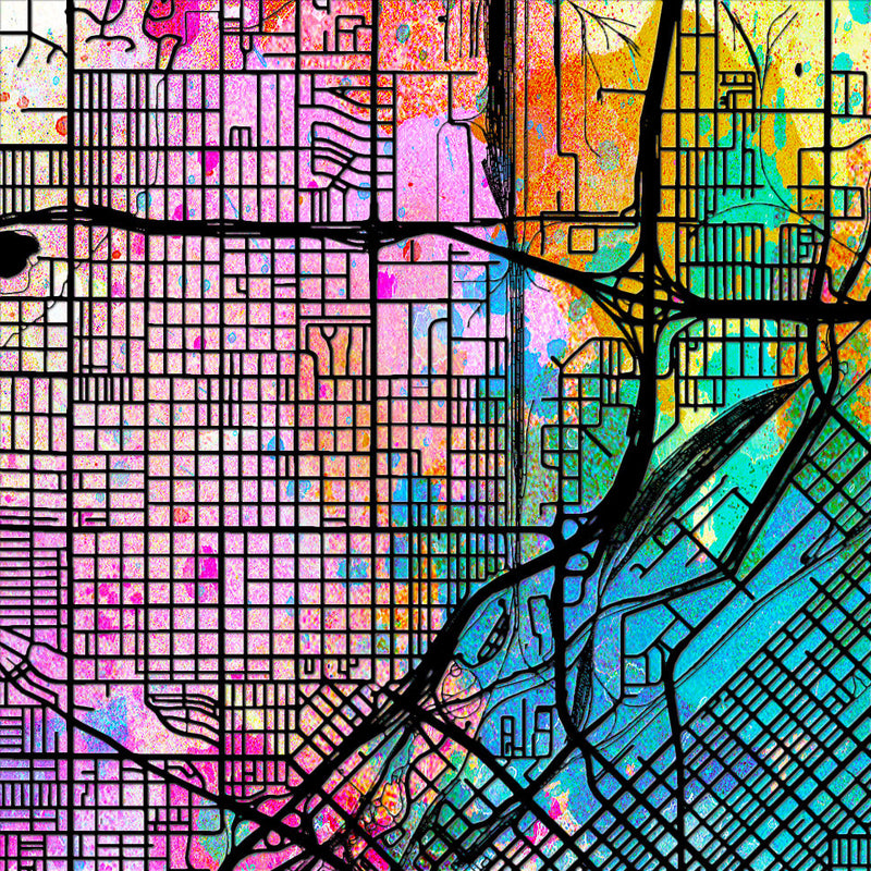 Denver Map: City Street Map of Denver Colorado - Sunset Series Art Print