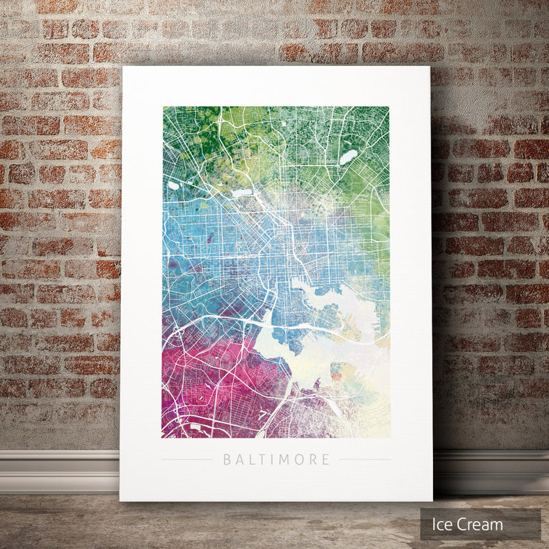 Baltimore Map: City Street Map of Baltimore, Maryland - Nature Series Art Print