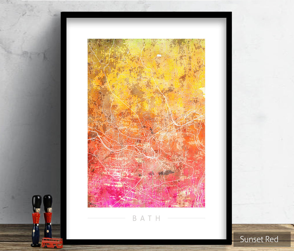 Bath Map: City Street Map of Bath, England - Sunset Series Art Print