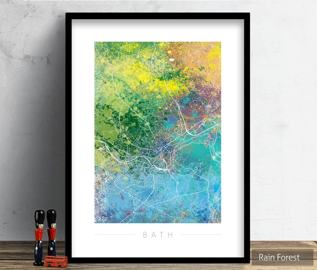 Bath Map: City Street Map of Bath, England - Nature Series Art Print