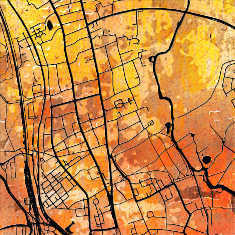 Oxford Map: City Street Map of Oxford, England - Sunset Series Art Print