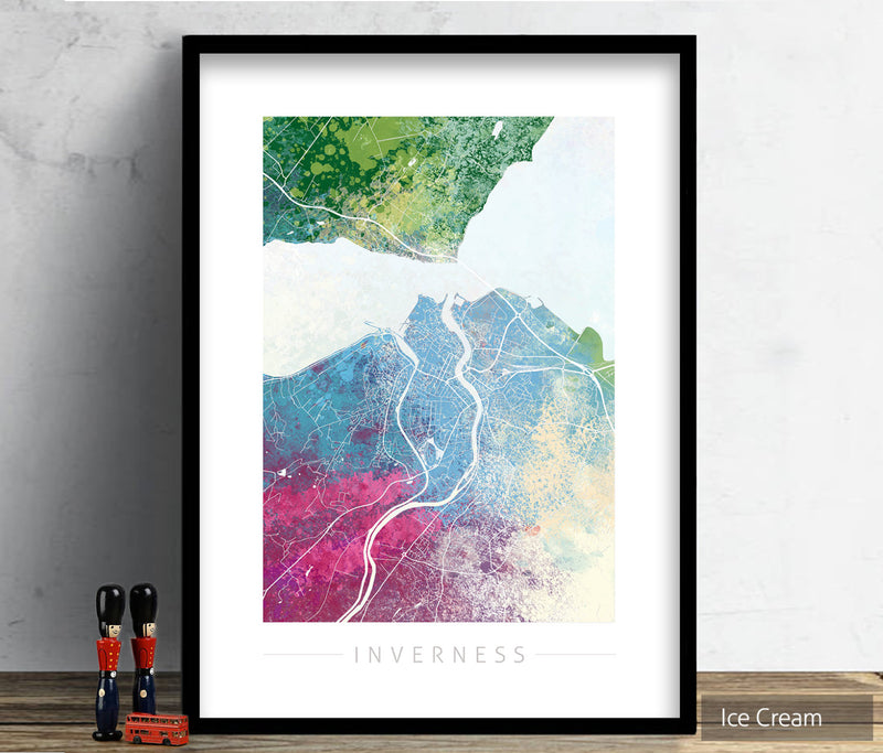 Inverness Map: City Street Map of Inverness, England - Nature Series Art Print
